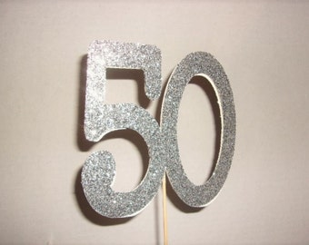 50 Silver Cake Toppers, 50 Cake Toppers, Birthday Cup Cake Toppers, Happy Birthday Cup Cake Toppers, 50 Centerpieces.