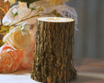 Wedding Candle, Wedding Centerpiece, Wedding Table Decor, Rustic Wedding, Barn Wedding, Woodland Wedding, Country Wedding, Log Candle