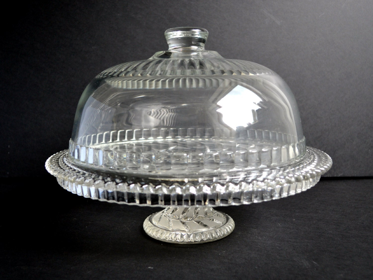 Large Vintage Cut Glass Pedestal Cake Stand Amp Cloche Bell Dome