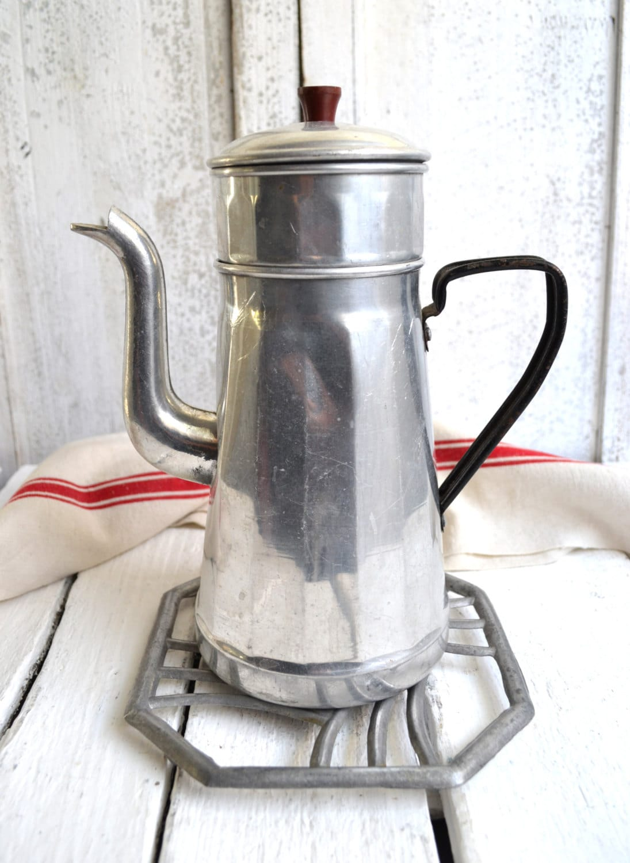 Elegant Vintage French Aluminium Coffee Pot Cafetiere