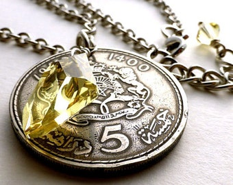 Coin necklace, Moroccan, Coin jewelry, Arabian, Swarovski necklace, Gothic, Coins, Jonquil crystal, Magic necklace, Yellow crystal, 1980