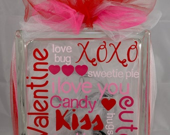 Valentines Day Glass Block - Lighted Valentines Day Glass Block - Decorative Valentines Day Lamp - Valentines Day Night Light