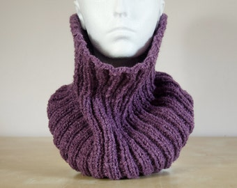 Snood - Infinity Cowl Purple Scarf - Circle Scarf Purple Hand Knit Scarves Grandparent Gift Knitted Womens Scarf - Gift for Her