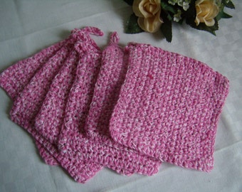 Lot of six dishcloths, Washcloths, pad remover, made pink and white cotton hand washable in machine