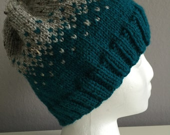 Teal and Gray Ombre Knit Hat