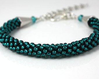 Beaded Kumihimo Bracelet - Teal Bracelet - Gift for Her - Bangle Cuff -Blue Bracelet - Brides Maid Gift - Gift For Her -Beaded Rope Bracelet