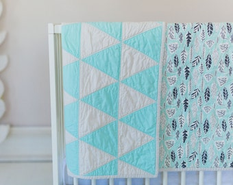 Modern Triangle Quilt - Mint - Charcoal - Gray -Ivory - Crib Quilt - Gender Neutral