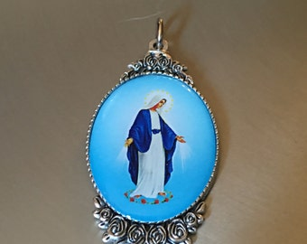 "Set of 2 Our Lady of Grace Medals Virgin Mary Medal From Italy Large Size 2 1/4"" Tall"
