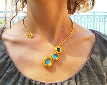 Gold statement necklace, Turquoise stones, Adjustable fashion necklace, Stylish necklace, Wedding necklace, Braidesmaid necklace Gold choker