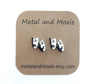 Theater Masks Stud Earrings, Comedy and Tragedy, Drama Club Opening Night Under 10 Dollars Jewlry Gift Actor Actress Drama Teacher