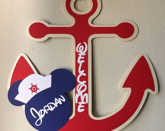 Mickey Mouse Nautical Birthday Sign Welcome Sign Nautical Decor Mickey Themed Party Anchor Sign Door Sign Welcome Sign Party Sailor Decor