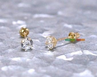 14K Gold Earring,Womens Gold Earrings,4mm Basket Setting Round Solitaire,Gold Stud Earring,Clear CZ,April Birthstone Earrings,Minimal Petite