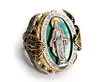 Virgin Mary Ring, Catholic Ring, Religious Ring, Religious Jewelry, Catholic Jewelry, Pearl Ring, Christian Jewelry, First Communion R900