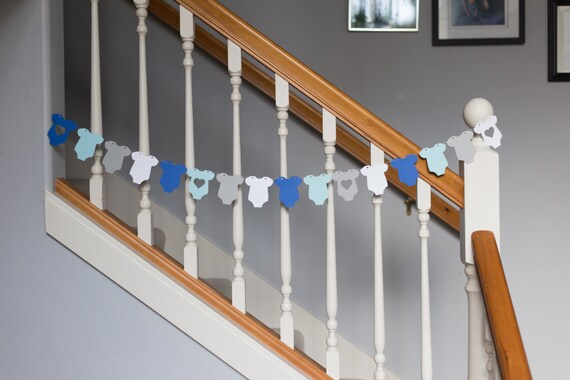 Baby onesie garland, baby shower banner, blues, gray, white