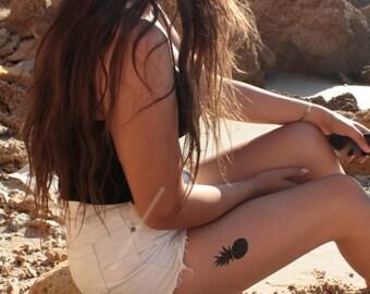 Pineapple Temporary Tattoo -Black Pineapple Tattoo- Summer Tattoos