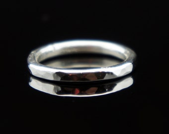 Textured Silver Ring Band, Wedding Band, 999 Fine Silver, Hammered Texture, Glitters in Light