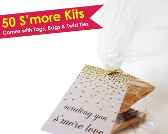 50 Smore Tags- Smore Kit- Smore Love Tags- Smore Favors- Smore Favor Tags- Smores Bar- Smores Wedding Favors S'mores Tags Wedding Favor Tags