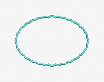 Scalloped Oval Applique Machine Embroidery Design - 4 Sizes