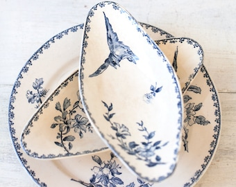 Early 1900s French Ironstone Dishes Set of 3 - Sarreguemines Favori - Blue Transferware - Free Shipping Within the USA