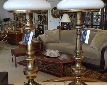 Antique Tam-o-Shanter milk glass brass edge lamp shades and brass lamps