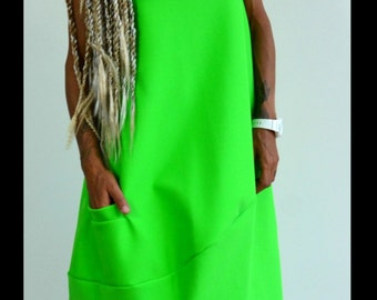 Green Spring Maxi Dress / Extravagant Party Dress /Green tunic