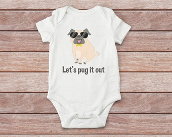 Boy bodysuit, girl bodysuit, baby shirt, pug baby shirt, dog baby bodysuit, baby clothes, funny baby bodysuit, unique shirt, baby bodysuit