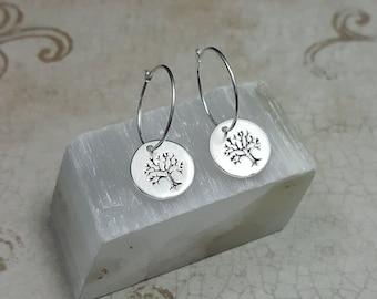 Tiny Tree of Life hoop earrings. sterling silver tree earrings. Delicate silver tree of life. girlfriend gift. Tiny silver tree hoops