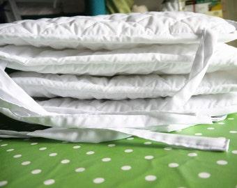 Crib Bumper, Quilted Bumper, White Bumper Nursery Bedding, Handmade Cradle Bumper Pads UNISEX,Classic White Bumper for Toddler,Padded Bumper