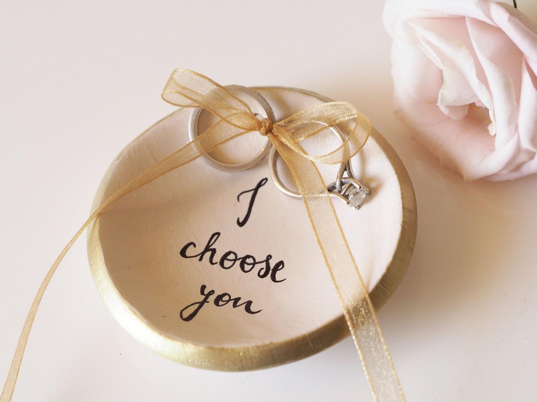 Personalized wedding ring holder I choose you ring dish