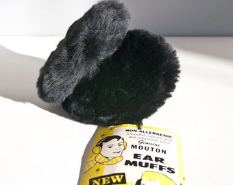 Mid Century Genuine Black Mouton Fur Ear Muffs New Old Stock