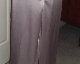 Dusty Pink Satin Crepe Panel Trouser Pants, Size 12, Below Waist Style, New Item, Original One Off Design