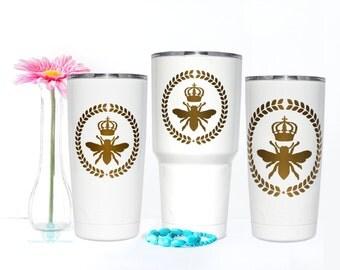 Queen Bee Decal - Yeti Decal - Monogram Decal - Yeti Tumbler Decal - Yeti Rambler Decal - Yeti Cup Decal - Yeti Monogram - Yeti Sticker