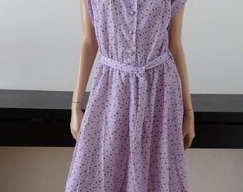 Robe vintage lilas à motifs taille 40/42 - Uk 12/14 - us 8/10