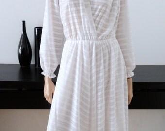 vtg white dress disco style 70's