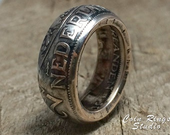 Dutch Coin Ring - Netherlands 2 1/2 Silver Gulden - Handmade Rings from Coins  Netherland  - Holland - Queen Juliana 1959 and other years