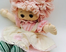 """Large Vintage Rag Doll, The Susie Jane Collection Pink Hair Rag Doll, 17"""" Soft Stuffed Dolls, Collectible Raggedy Ann, Cloth Yarn Hair Doll,"""