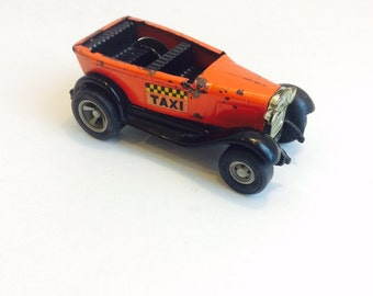Vintage Tiny Tonka Orange Press-Steel Construction Taxi Cab, Collectable Toy Car, Vtg Metal Tonka Taxi, Made in the the USA