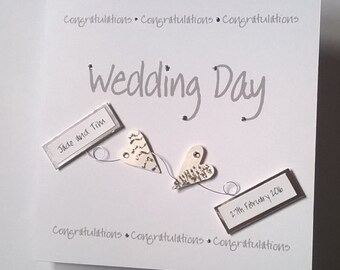 Lovely Personalised Handmade Wedding Day Card Two 3d Hearts Design Bride Groom