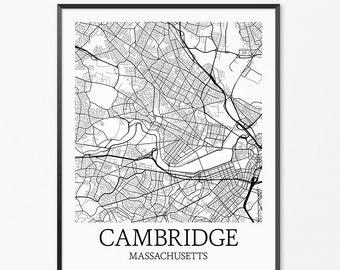Cambridge Map Art Print, Cambridge Poster Map of Cambridge Decor, Cambridge City Map Art, Cambridge Gift, Cambridge Massachusetts Art Poster