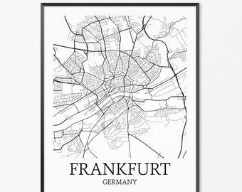 Frankfurt Map Art Print, Frankfurt Poster Map of Frankfurt Decor, Frankfurt City Map Art, Frankfurt Gift, Frankfurt Germany Art Poster