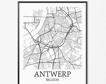Antwerp Map Art Print, Antwerp Poster Map of Antwerp Decor, Antwerp City Map Art, Antwerp Gift, Antwerp Belgium Art Poster