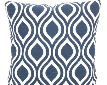 Navy Blue Decorative Throw Pillow Covers, Cushions, Throw Pillow, Couch Pillows, Decorative Pillow, Nicole, Geometric 12 x 16 or 12 x 18