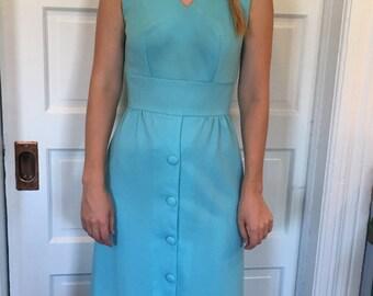 Vintage Sky Blue 60s Maxi Party Dress