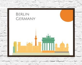 Berlin Cityscape, Berlin Art, Skyline, Cityscape, Berlin Print, City Print, City Poster, Wall Art, Berlin Skyline, Abstract