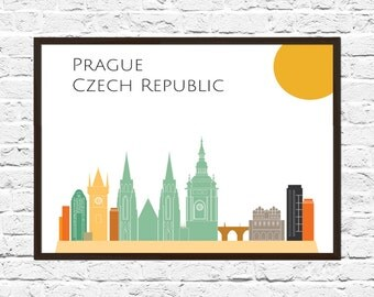 Prague Cityscape, Prague Art, Skyline, Cityscape, Prague Print, City Print, City Poster, Wall Art, Prague Skyline, Abstract