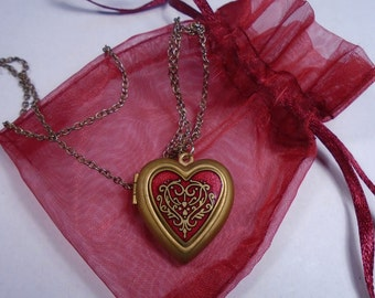MMA Red Enamel Locket Heart Necklace, Satin Guilt Finish, 1984, Marked