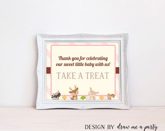 Woodland Dessert Table Sign , Please Take A Treat Sign , Girl Baby Shower Decorations , Printable , Instant Download