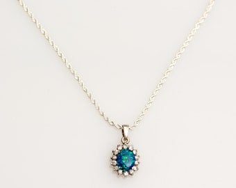 Pendant Necklace Rhinestone Turquoise Color Charm Sterling Silver Wedding Bride Bridesmaid's Flower Girl Gift - Aleks Jewelry