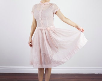 Vintage 1950s Ballerina Pink Flocked Dress / Swiss Dot / Floral / Peter Pan Collar / Semi Sheer / S/M