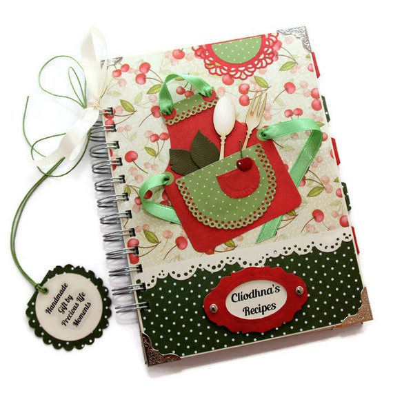 Recipe Journal Cherry Design, Handmade Blank Cook Book, Family Recipe Journal, Hostess Gift, Bridal Shower Gift, Red, Green and Cream Book